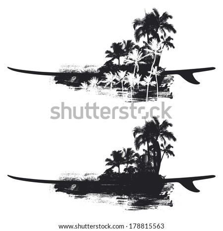 beauty summer coast with surfboard - stock vector