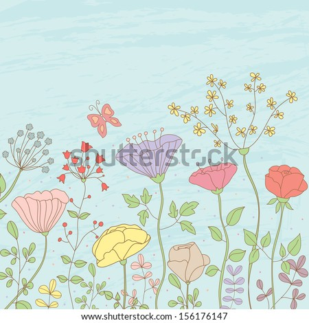 Beauty vector postcard in light tones. Summer illustration with flowers and butterfly. Ideal for celebration card or poster - stock vector