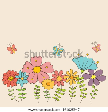 Beauty vector postcard in light tones. Summer illustration with flowers. Ideal for celebration card or poster - stock vector