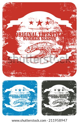 beauty vintage surf shield with wave - stock vector