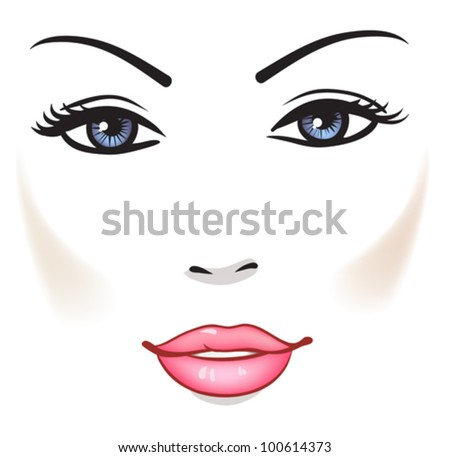 Beauty Woman Face, Beautiful Girl Vector Portrait - stock vector