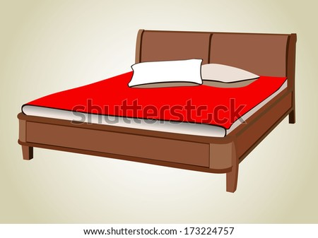Bed. - stock vector