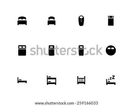 Bed icons on white background. Vector illustration. - stock vector
