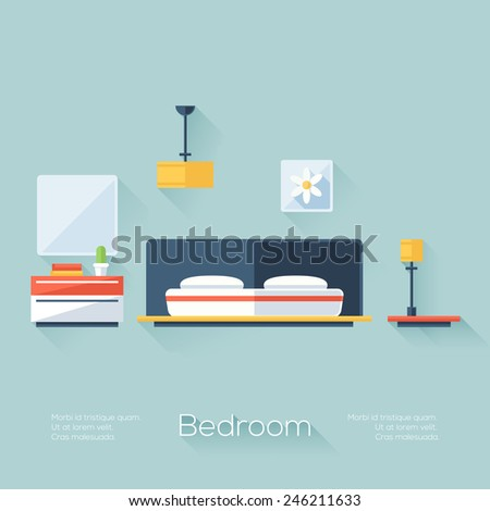 Bedroom Cover with Lamp, Chandelier and Nightstand. Flat Style with Long Shadows. Modern Trendy Design. Vector Illustration. - stock vector