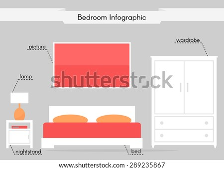 Bedroom infographic. Contemporary interior design. Modern isolated furniture icons: bed, wardrobe, nightstand, picture. White furniture on grey background. Flat style vector illustration.  - stock vector