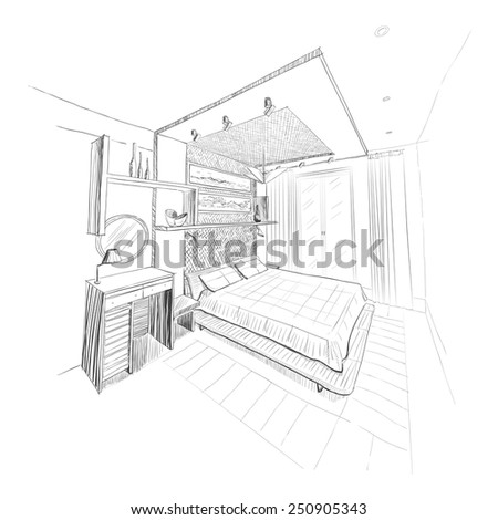 Bedroom interior sketch. - stock vector