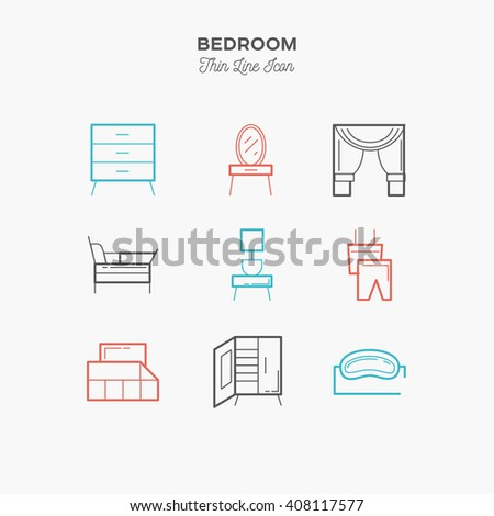 Bedroom, interior, thin line color icons set, vector illustration - stock vector
