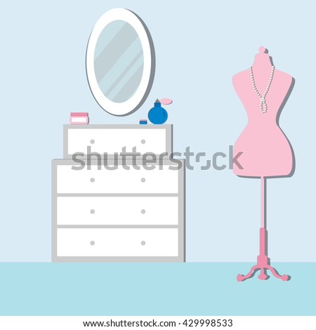 Bedroom with furniture and mannequin. Chest of drawers with mirror. Bedroom Modern  interior. Flat Vector illustration. - stock vector
