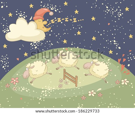 Bedtime colorful illustration with the snoozing moon and sheep. EPS 10. No transparency. No gradients. - stock vector