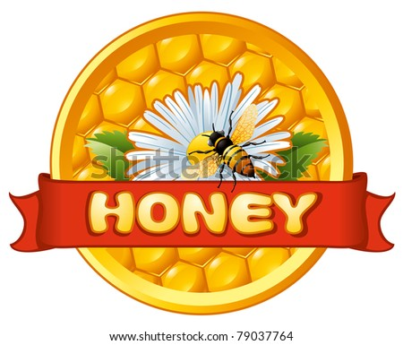 Bee and flower on honeycomb. Background for you design. - stock vector