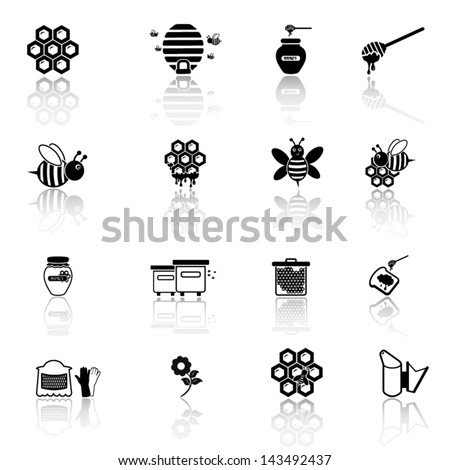 Bee and honey icon set - stock vector