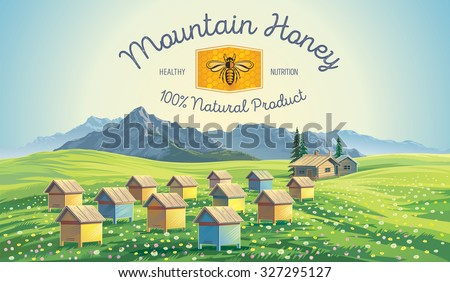 Bee apiary in the mountains. Mountain landscape. - stock vector