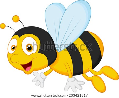 Bee cartoon flying - stock vector
