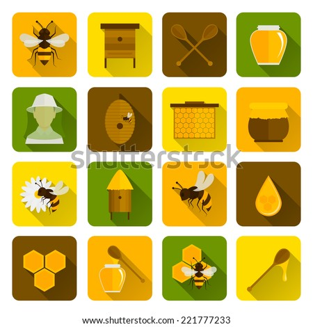 Bee honey icons flat set with beekeeper honeycomb beehive isolated vector illustration - stock vector