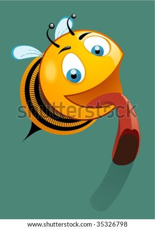 Bee licking - stock vector