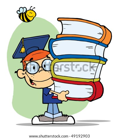 Bee Over A Graduation Boy With Books In Their Hands - stock vector