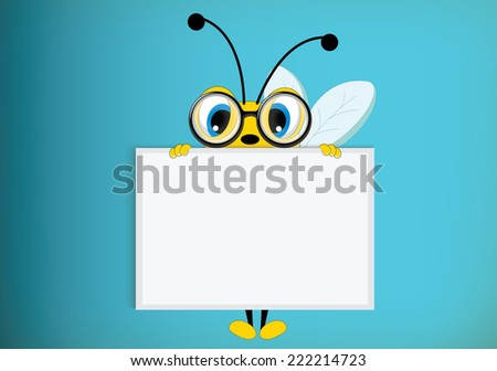 Bee poses with blank paper for use in advertising, presentations, brochures, blogs, documents and forms, etc  - stock vector