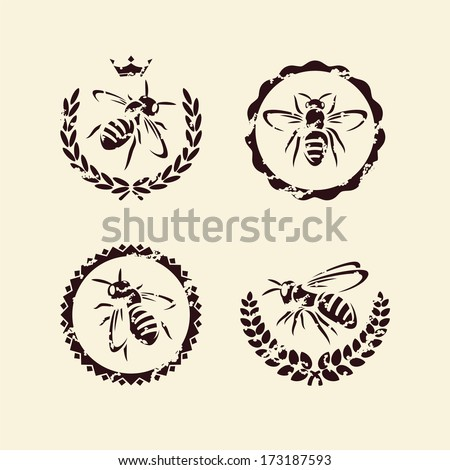 bee set. Vector  - stock vector