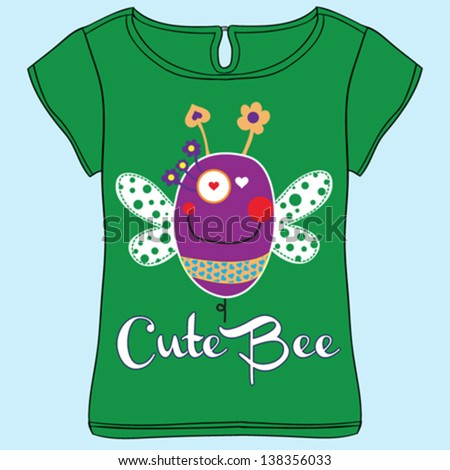 bee/T-shirt graphics/cute cartoon characters/cute graphics for kid/Book illustrations/textile graphic/graphic designs for kindergarten/cartoon character design - stock vector