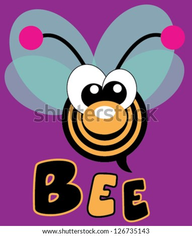 bee / T-shirt graphics / cute cartoon characters / cute graphics for kids / Book illustrations / textile graphic - stock vector