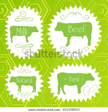 Beef cattle ecology food labels illustration collection - stock vector