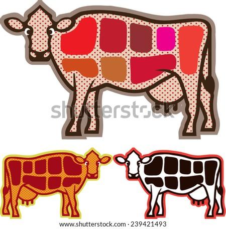 Beef Cuts - stock vector