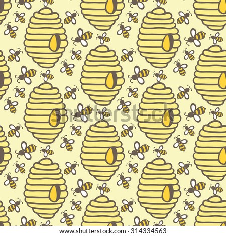 Beehive and bee. Hand-drawn seamless cartoon pattern with honey bees and hives. Doodle drawing. Vector illustration.  - stock vector