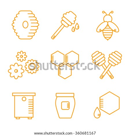 Beekeeping isolated icons on white background. Apiary icons set. Apiculture. Honey bee, honey jar, honey spoon. Honey icons collection. Organic bee farm elements. Flat line style vector illustration.  - stock vector