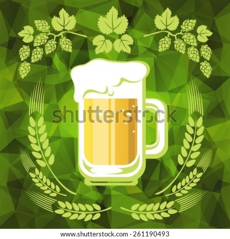 Beer and hop on a green polygonal background. EPS-10 - stock vector