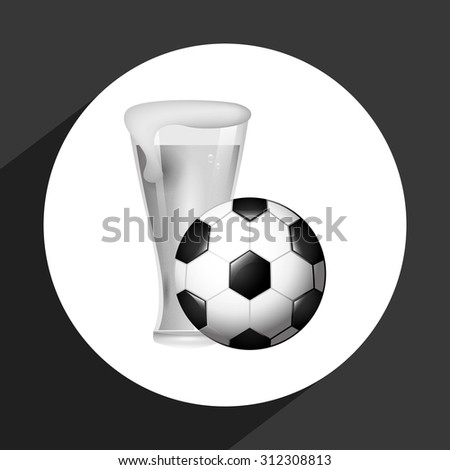 beer and soccer design, vector illustration eps10 graphic  - stock vector