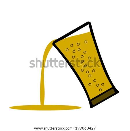 beer being poured - stock vector