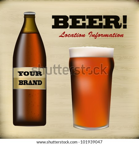 Beer bottle and foaming glass on a paper texture background - stock vector