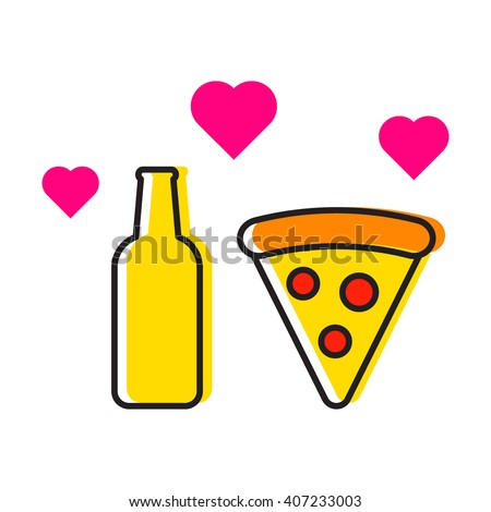 Beer bottle and pizza with hearts icon flat vector on white background. For those who love beer and pizza. Element for logo design - stock vector