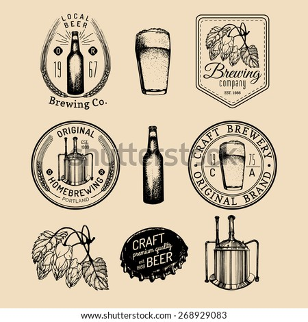 Beer bottle. Beer glass. Hand drawing vector sketch of brewery. Brewery background. Craft beer. Vector set of vintage brewery logo. Retro logotypes collection of beer elements. Beer icons. Beer labels - stock vector
