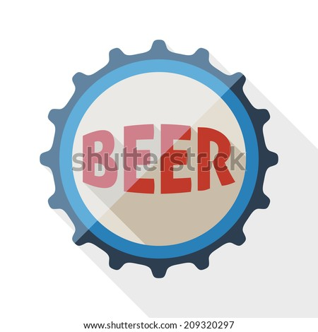 Beer bottle cap icon with long shadow on white background - stock vector