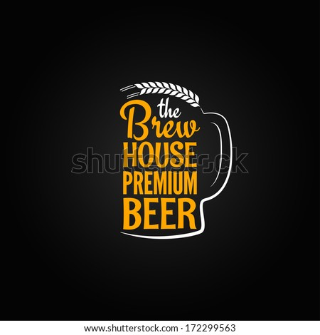 beer bottle glass house design menu background - stock vector