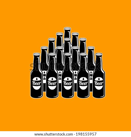 beer bottles grouped to shape of pyramid - stock vector