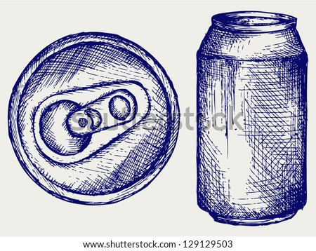 Beer can. Doodle style - stock vector
