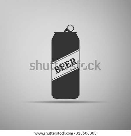 Beer can icon on grey background. Vector Illustration - stock vector
