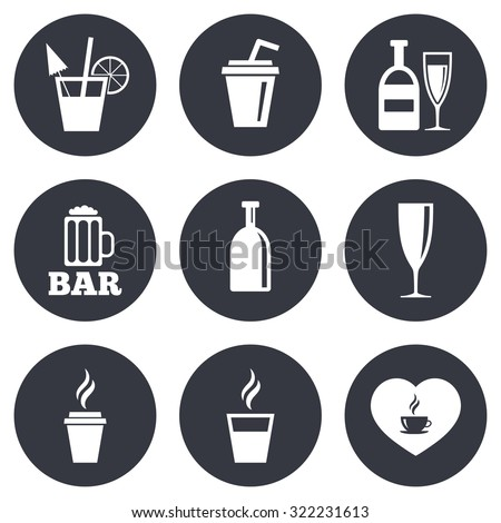 Beer, coffee and tea icons. Beer, wine and cocktail signs. Soft and alcohol drinks symbols. Gray flat circle buttons. Vector - stock vector