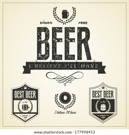 Beer emblems and labels  - vintage style - stock vector