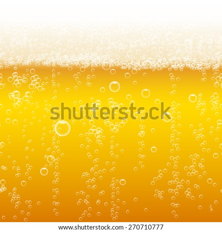 Beer foam background, horizontal seamless beer pattern. Light bright, bubble and liquid, vector illustration - stock vector