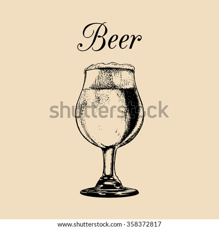 Beer glass isolated. Vector glass of beer. Vector illustration of beer glass. Beer illustration. Hand drawn sketch of beer glass with foam. Cocktail bar menu. Cocktail party. Drinks menu. - stock vector