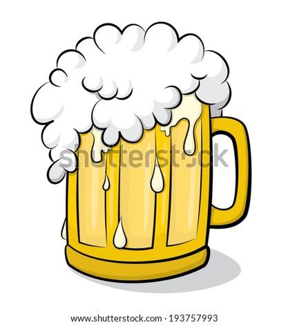 Beer glass overflowing vector clip art - stock vector