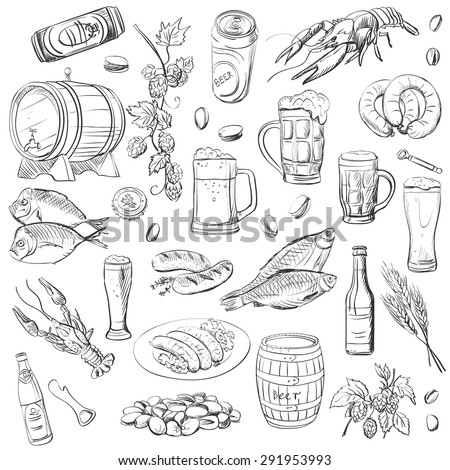 beer. hand drawing set of vector sketches on white background.  - stock vector
