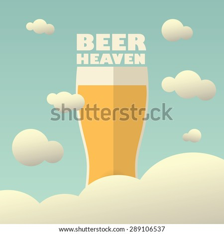 Beer heaven poster with large pint on background. Vintage funny concept for advertising or promotion. Eps10 vector illustration. - stock vector