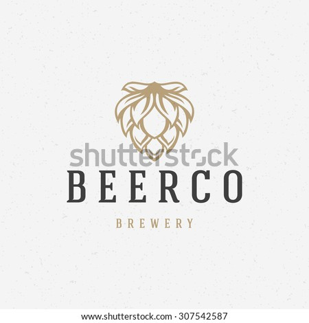 Beer hop logo or badge design element vector illustration - stock vector