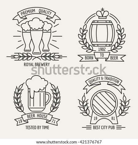 Beer house and kraft brewing company outline labels. Vector illustration - stock vector