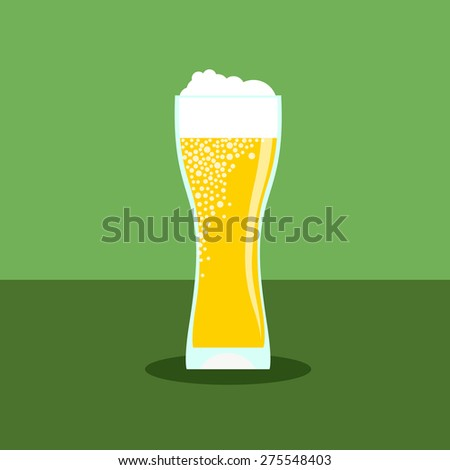 Beer icon in modern flat design with long shadow. Alcohol beverage drink symbol in vintage style Eps10 vector illustration. - stock vector