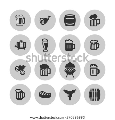 beer icons - stock vector